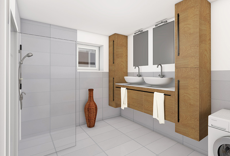 3D Innenraumvisualisierungen W-9 Badezimmer