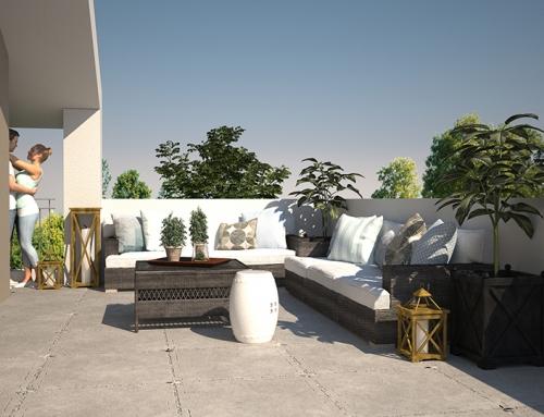 Architektur Rendering Terrasse